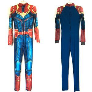 Captain Marvel Costume Bodysuit & Wig Red/Blue O/S